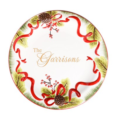 Seasons Greetings Personalized 16 Inch Round Ceramic Holiday Platter