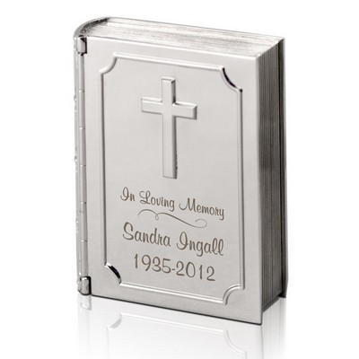 Silver Personalized Memorial Bible Keepsake Box