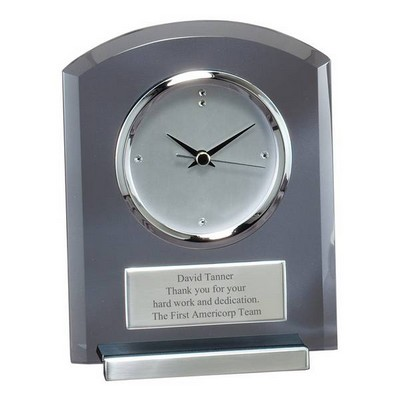 Smoked Glass Personalized Desk Clock