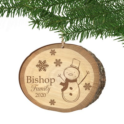 Snowman Family Birch Wood Print Personalized Christmas Ornament