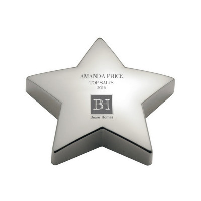 Star Achievement Personalized Silver Paperweight