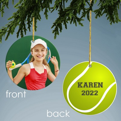 Tennis Design Personalized Ceramic Christmas Ornament