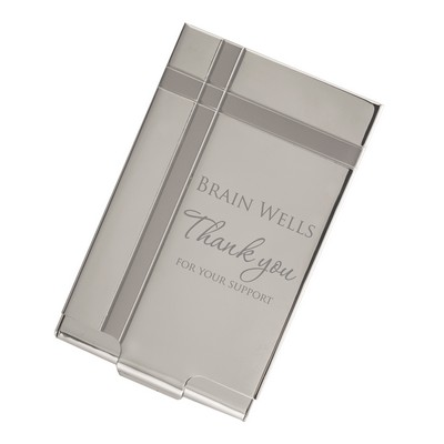 Thank You Personalized Silver Business Card Case