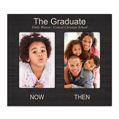 The Graduate Now and Then Double 4x6 Personalized Photo Frame