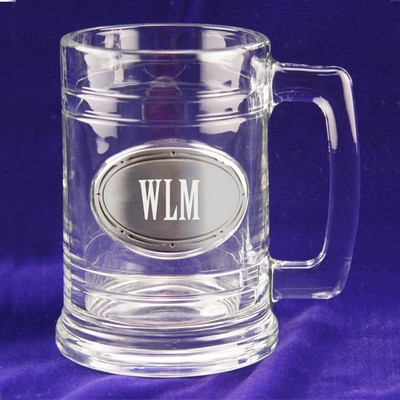 Glass and Pewter Pint Beer Mug