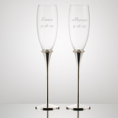 Personalized Toasting Flutes with Crystal Ring