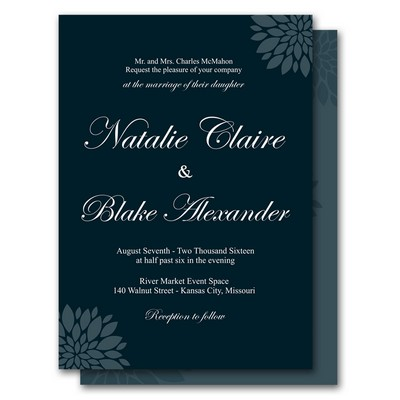 Blue Floral 5x7 Wedding Invitation and RSVP Card