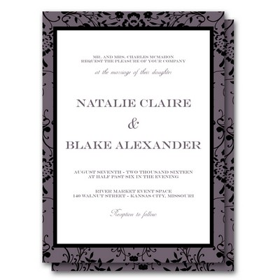 Classic Type 5x7 Wedding Invitation and RSVP Card