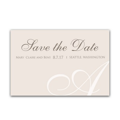 Classic Initial 4x6 Wedding Announcement Cards