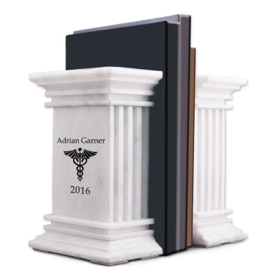 White Marble Personalized Bookends with Caduceus for Doctors