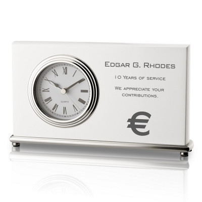 White Piano Finish Years of Service Desk Clock