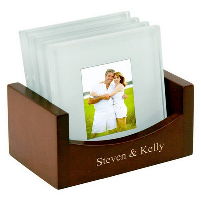 Personalized Glass Photo Coaster Set with Wood Holder