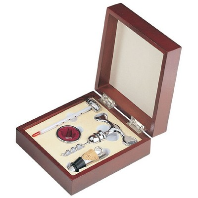 Personalized Complete Wine Bar Gift Set in Rosewood Box
